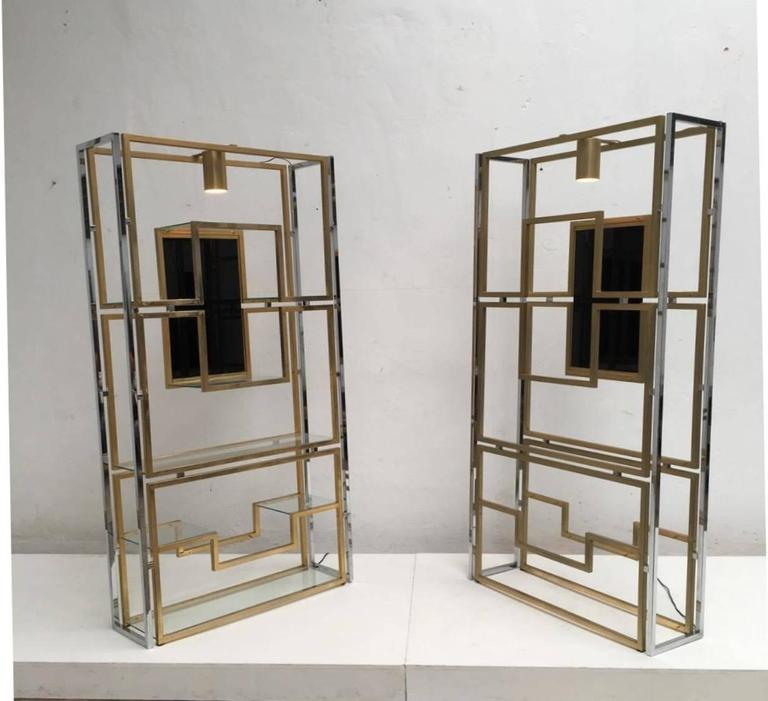 French Elegant Pair of Illuminated Brass, Chrome, Glass Étagère by Kim Moltzer, 1968 For Sale