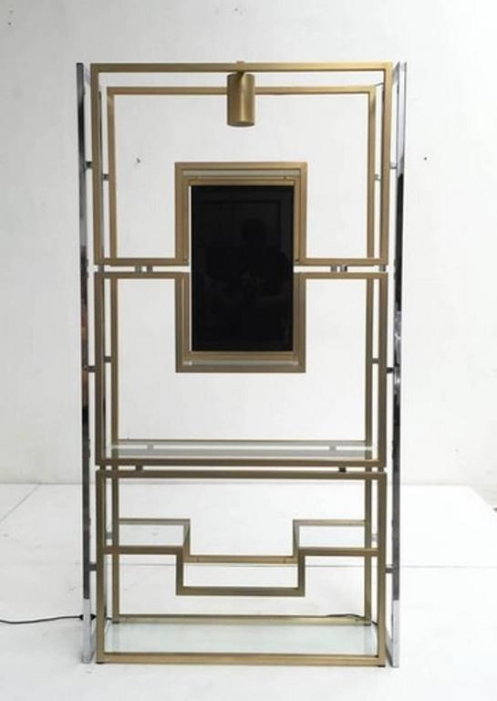 Mid-20th Century Elegant Pair of Illuminated Brass, Chrome, Glass Étagère by Kim Moltzer, 1968 For Sale