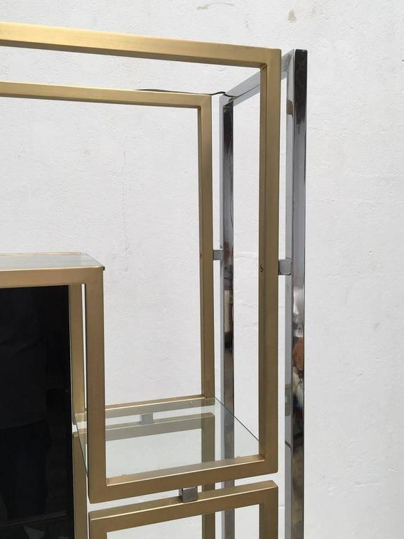 Elegant Pair of Illuminated Brass, Chrome, Glass Étagère by Kim Moltzer, 1968 10