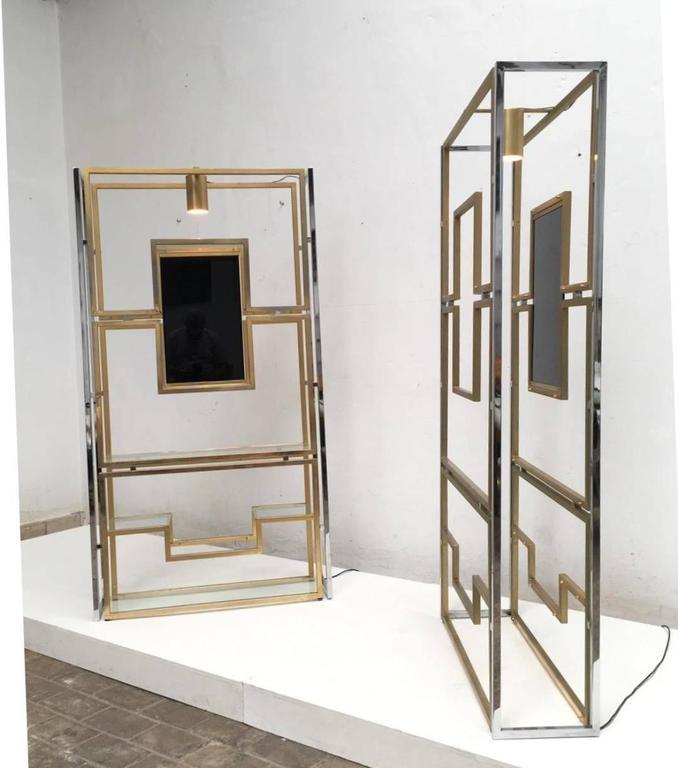 Elegant Pair of Illuminated Brass, Chrome, Glass Étagère by Kim Moltzer, 1968 5