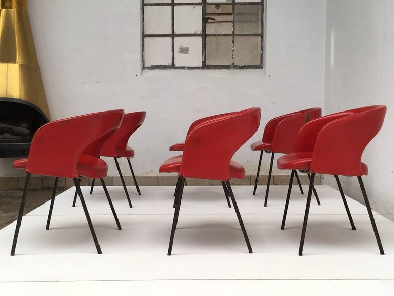 Enameled Dining Chairs from Hotel 'Abano Terme', 1960 with Certificate Rinaldi Archive For Sale