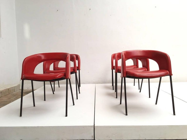Mid-Century Modern Dining Chairs from Hotel 'Abano Terme', 1960 with Certificate Rinaldi Archive For Sale
