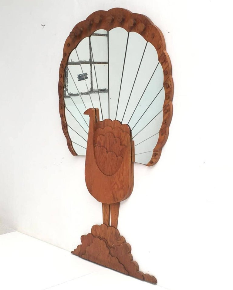 "Hand-Crafted 'Pavone' Mirror by Artist Sirio Alessandri, 73"" Tall, Published Casa Vogue, 1976 For Sale"