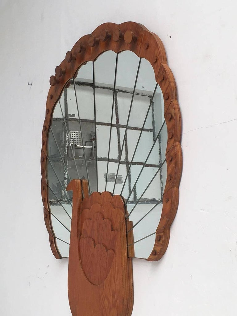 "'Pavone' Mirror by Artist Sirio Alessandri, 73"" Tall, Published Casa Vogue, 1976 In Good Condition For Sale In bergen op zoom, NL"