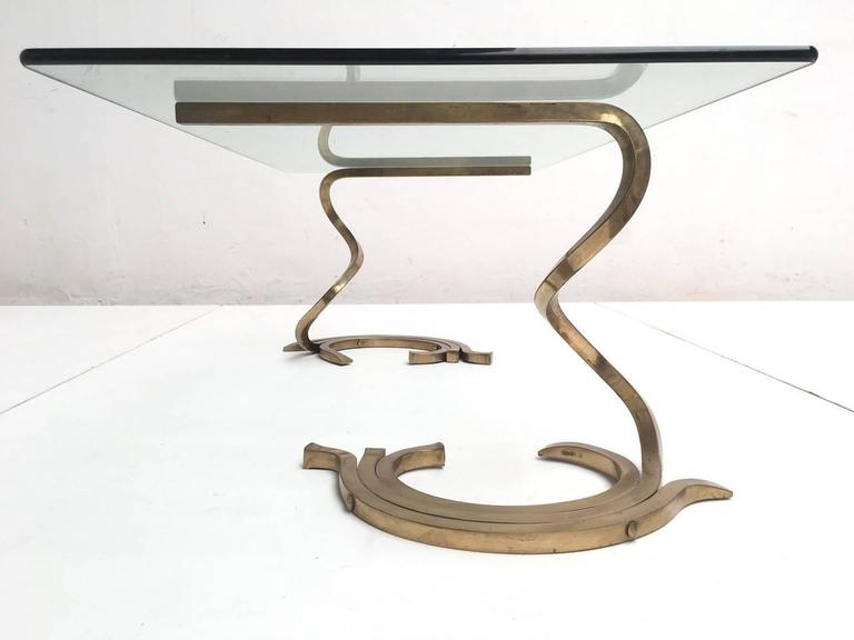 Italian Stunning Sculptural Serpentine Form Coffee Table, Solid Brass Bar, Italy, 1970 For Sale