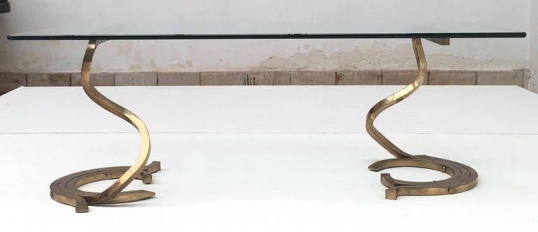 Stunning Sculptural Serpentine Form Coffee Table, Solid Brass Bar, Italy, 1970 2
