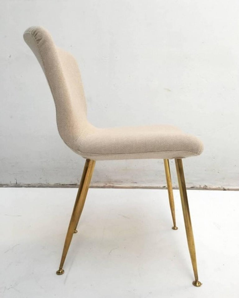 Dining Chair by Louis Sognot for Arflex, 1959, Brass Legs, Upholstery Restored 2