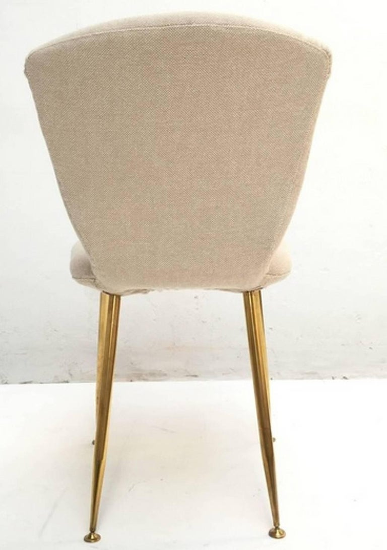 Mid-Century Modern Dining Chair by Louis Sognot for Arflex, 1959, Brass Legs, Upholstery Restored For Sale