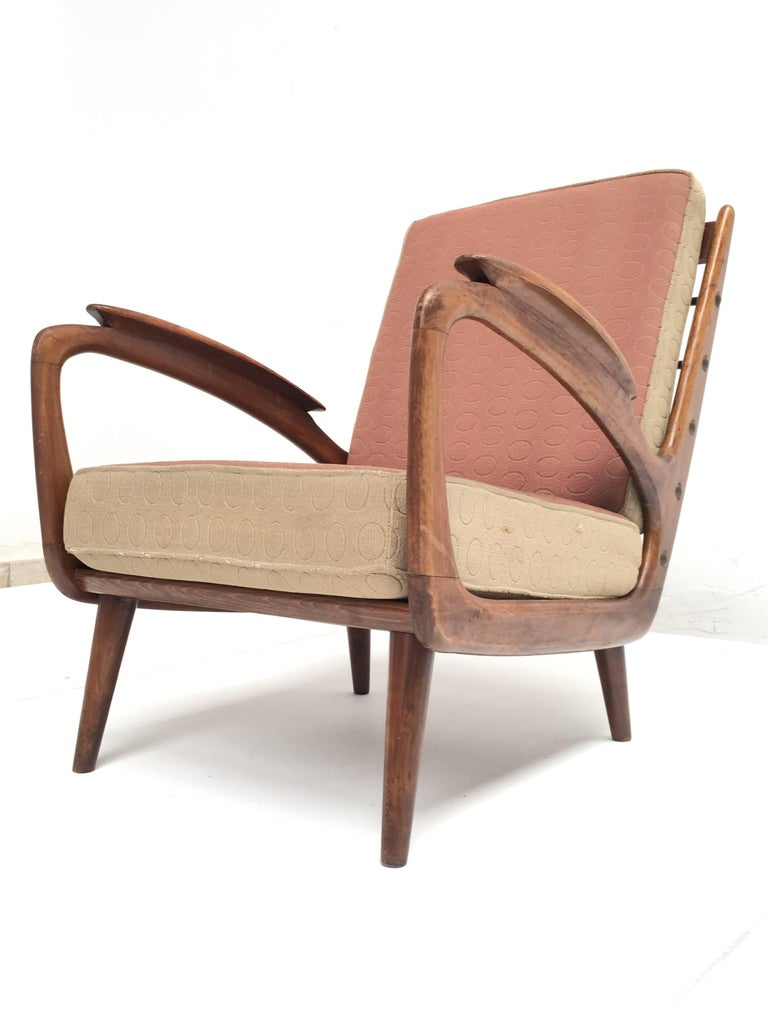 Stunning Dutch De Ster 1950s Organic Carved Walnut Stained Birch Lounge Chair 2