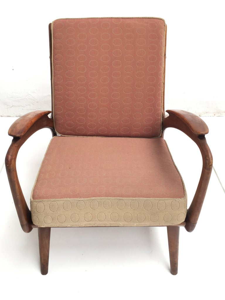 Mid-Century Modern Stunning Dutch De Ster 1950s Organic Carved Walnut Stained Birch Lounge Chair For Sale
