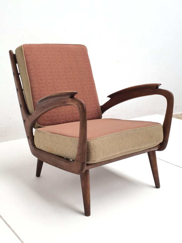 Stunning Dutch De Ster 1950s Organic Carved Walnut Stained Birch Lounge Chair In Good Condition For Sale In bergen op zoom, NL