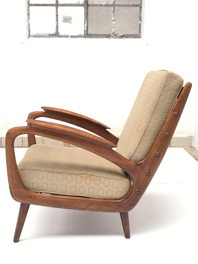 Mid-20th Century Stunning Dutch De Ster 1950s Organic Carved Walnut Stained Birch Lounge Chair For Sale