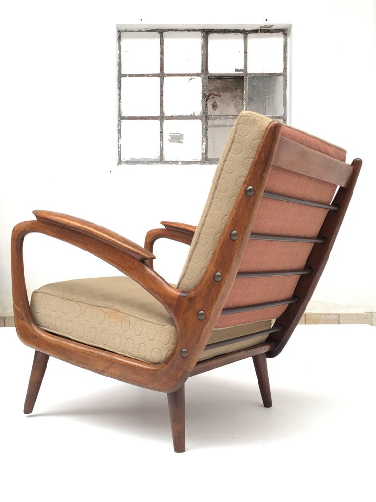 Upholstery Stunning Dutch De Ster 1950s Organic Carved Walnut Stained Birch Lounge Chair For Sale