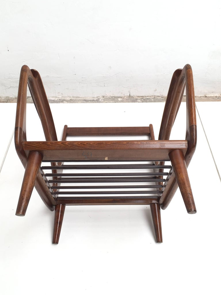 Stunning Dutch De Ster 1950s Organic Carved Walnut Stained Birch Lounge Chair For Sale 3