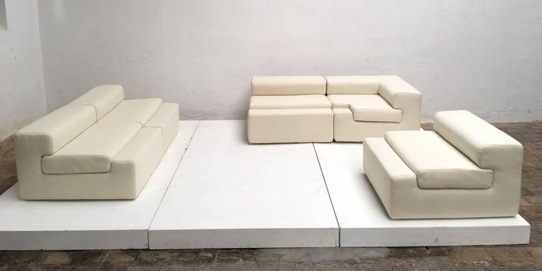 Beautiful and unique sculptural form five-piece modular sofa designed by architect, designer and sculptor Angelo Mangiarotti in 1969 for the 'Casa Vitale' in Milan, Italy. This  sofa is a unique, one off , artisan crafted design by Mangiarotti for