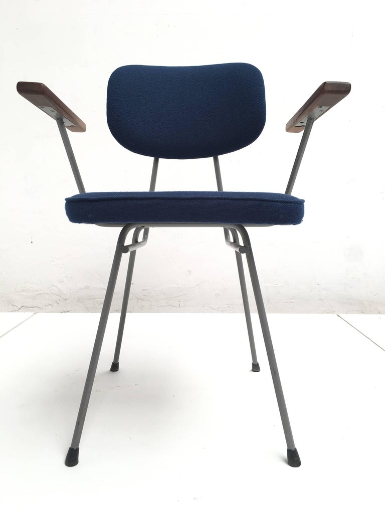 Metal Rare Set of Ten Kembo Dining Chairs with Hardwood Armrests The Netherlands 1950s For Sale