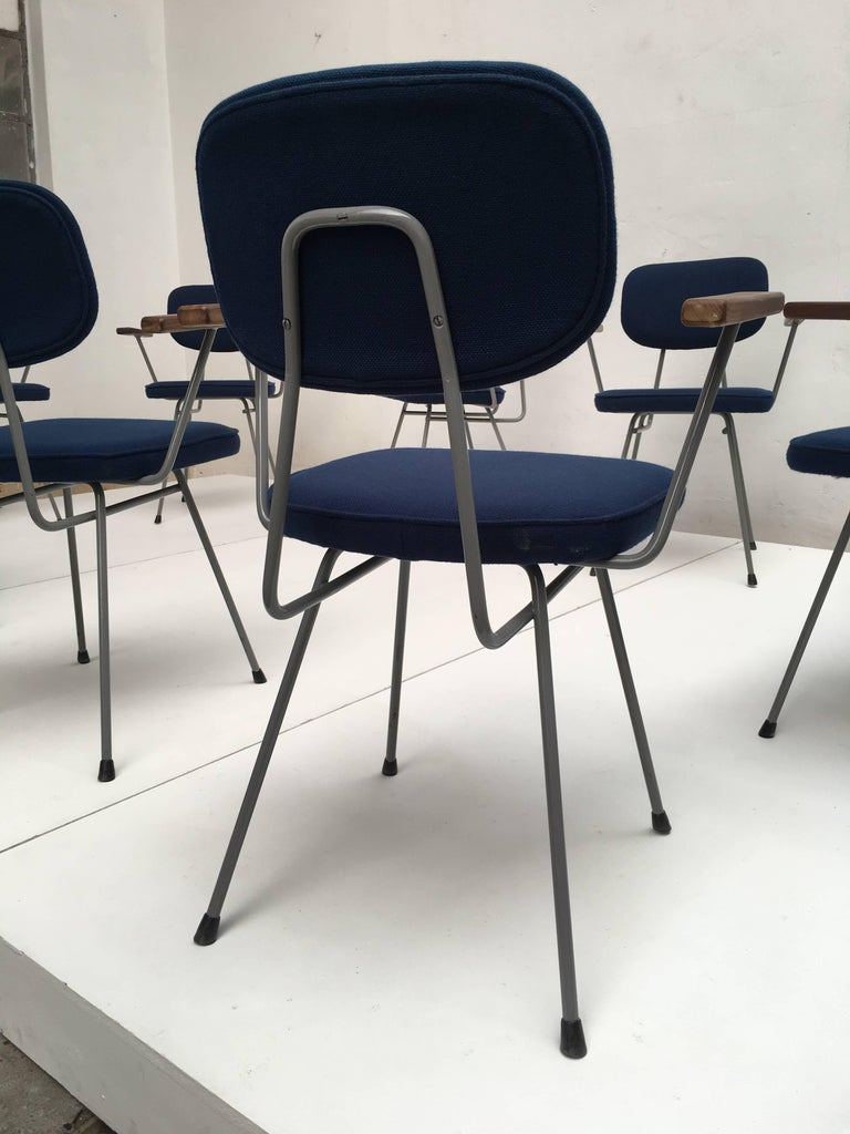 Enameled Rare Set of Ten Kembo Dining Chairs with Hardwood Armrests The Netherlands 1950s For Sale