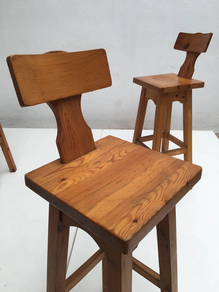 Set of Four Scandinavian Solid Pine Wood Barstools, Style of Rainer Daumiller 7