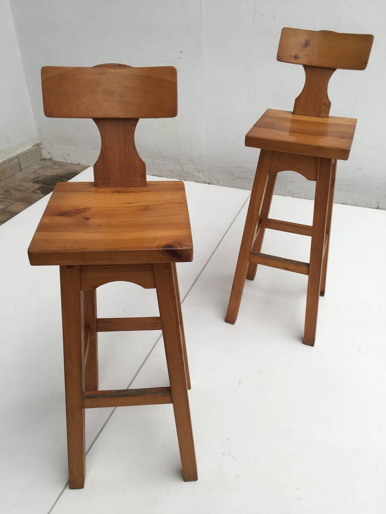 Set of Four Scandinavian Solid Pine Wood Barstools, Style of Rainer Daumiller 8