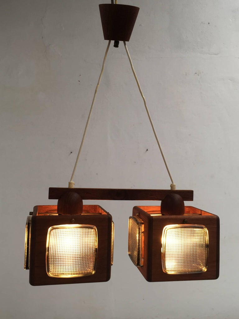 Cubic Vitrika Pendant Teak, Brass and Orrefors Glass, 1960s 6