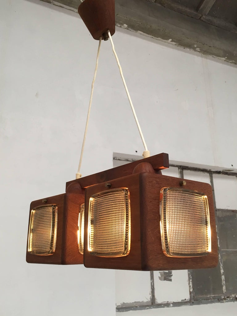Cubic Vitrika Pendant Teak, Brass and Orrefors Glass, 1960s 9