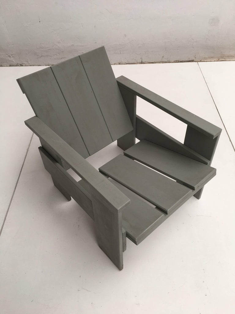 Lacquered Gerrit Rietveld Inspired Crate Chair, Study Piece by a Student For Sale