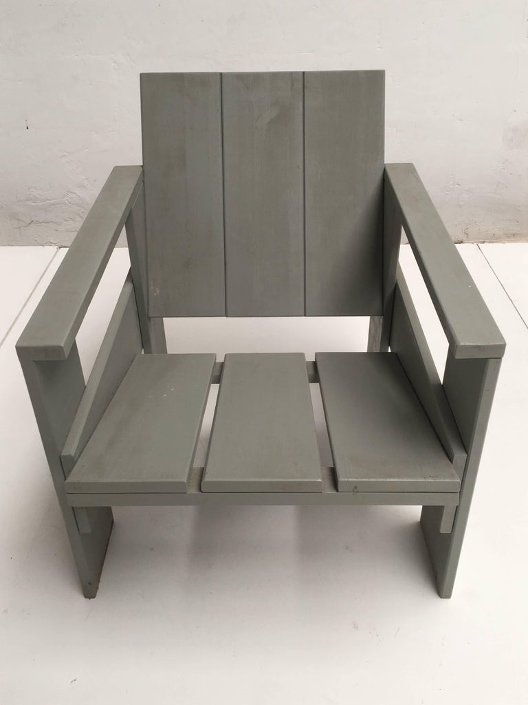 Mid-20th Century Gerrit Rietveld Inspired Crate Chair, Study Piece by a Student For Sale