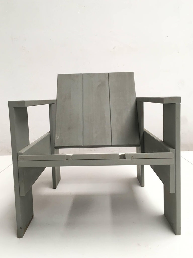 Pine Gerrit Rietveld Inspired Crate Chair, Study Piece by a Student For Sale