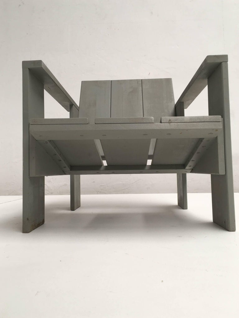 De Stijl Gerrit Rietveld Inspired Crate Chair, Study Piece by a Student For Sale