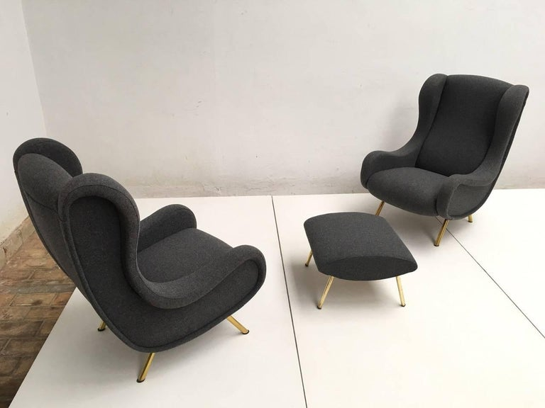 Mid-Century Modern Zanuso 'Senior' Chairs, Rare Early Examples with Wood Frames and Ottoman, 1951 For Sale