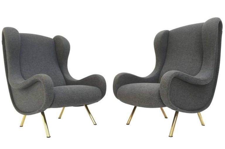 Italian Zanuso 'Senior' Chairs, Rare Early Examples with Wood Frames and Ottoman, 1951 For Sale