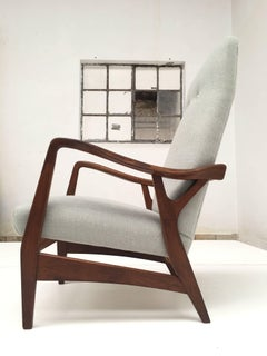 Solid 50's Carved Teak Danish Highback Chair with New De Ploeg Wool Upholstery