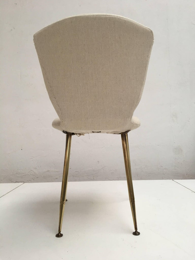 10 Dining Chairs by Louis Sognot for Arflex, 1959,brass legs,Upholstery Restored 6
