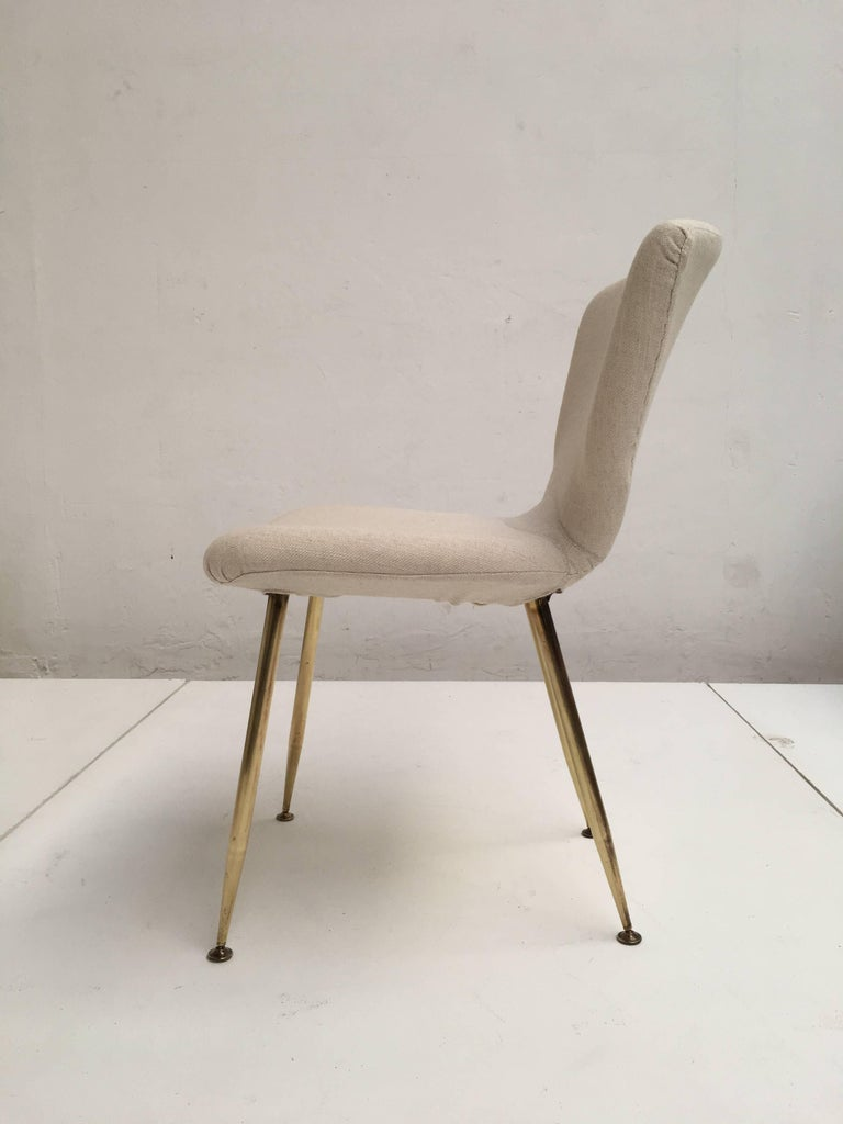 10 Dining Chairs by Louis Sognot for Arflex, 1959,brass legs,Upholstery Restored 7