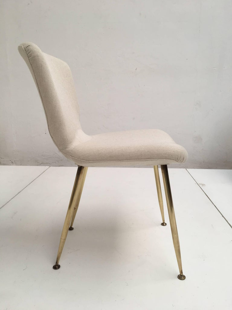 10 Dining Chairs by Louis Sognot for Arflex, 1959,brass legs,Upholstery Restored 8