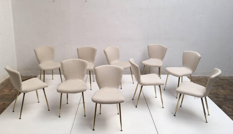 10 Dining Chairs by Louis Sognot for Arflex, 1959,brass legs,Upholstery Restored 4