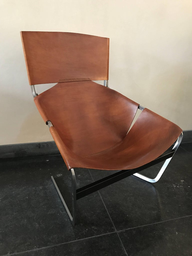 Mid-Century Modern Stunning Original Saddle Leather Pierre Paulin F444 Lounge Chair for Artifort For Sale