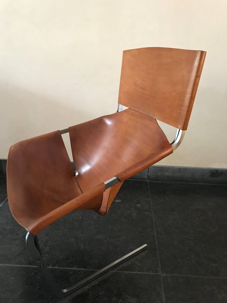 Mid-20th Century Stunning Original Saddle Leather Pierre Paulin F444 Lounge Chair for Artifort For Sale
