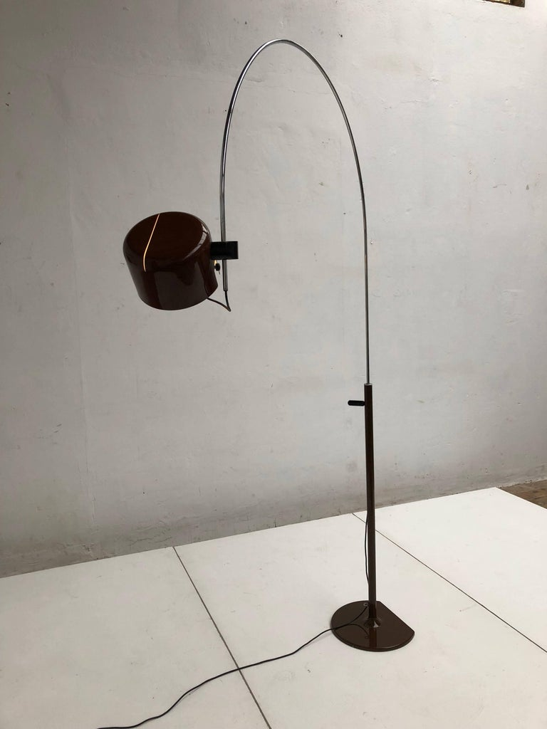 Aluminum Joe Colombo Extra Large Arched Coupe Floor Lamp by O-Luce, 1970 Production For Sale