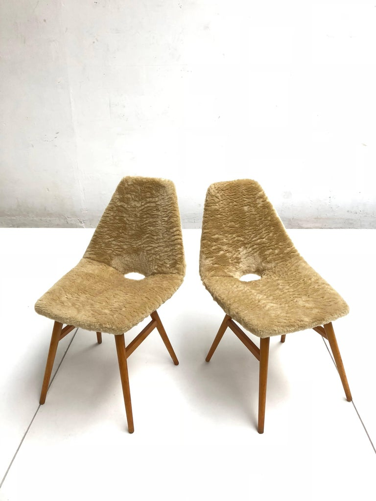 Mid-20th Century Pair of Side Chairs by Judit Burian & Erika Szek Hungary, circa 1959 For Sale