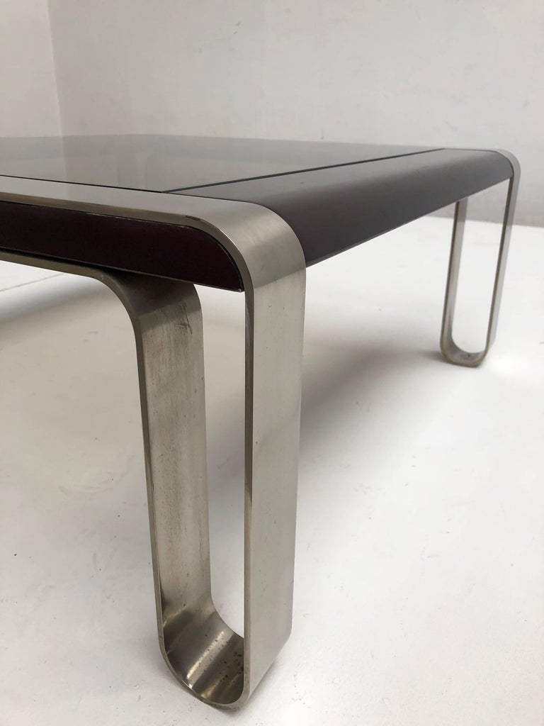 Mid-Century Modern Italian, 1970s Sculptural Coffee or Side Table Nickel-Plated Steel, Wood & Glass For Sale