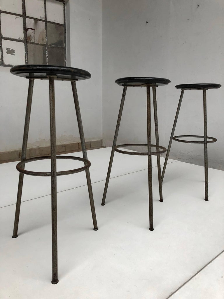1950s Swiss Industrial Confection Atelier Tripod Working / Bar Stools For Sale 4