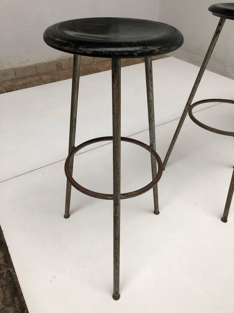 Wood 1950s Swiss Industrial Confection Atelier Tripod Working / Bar Stools For Sale