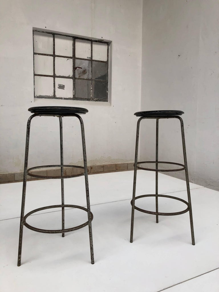 Pair of 1950s Swiss Industrial Confection Atelier Working or Bar Stools 3