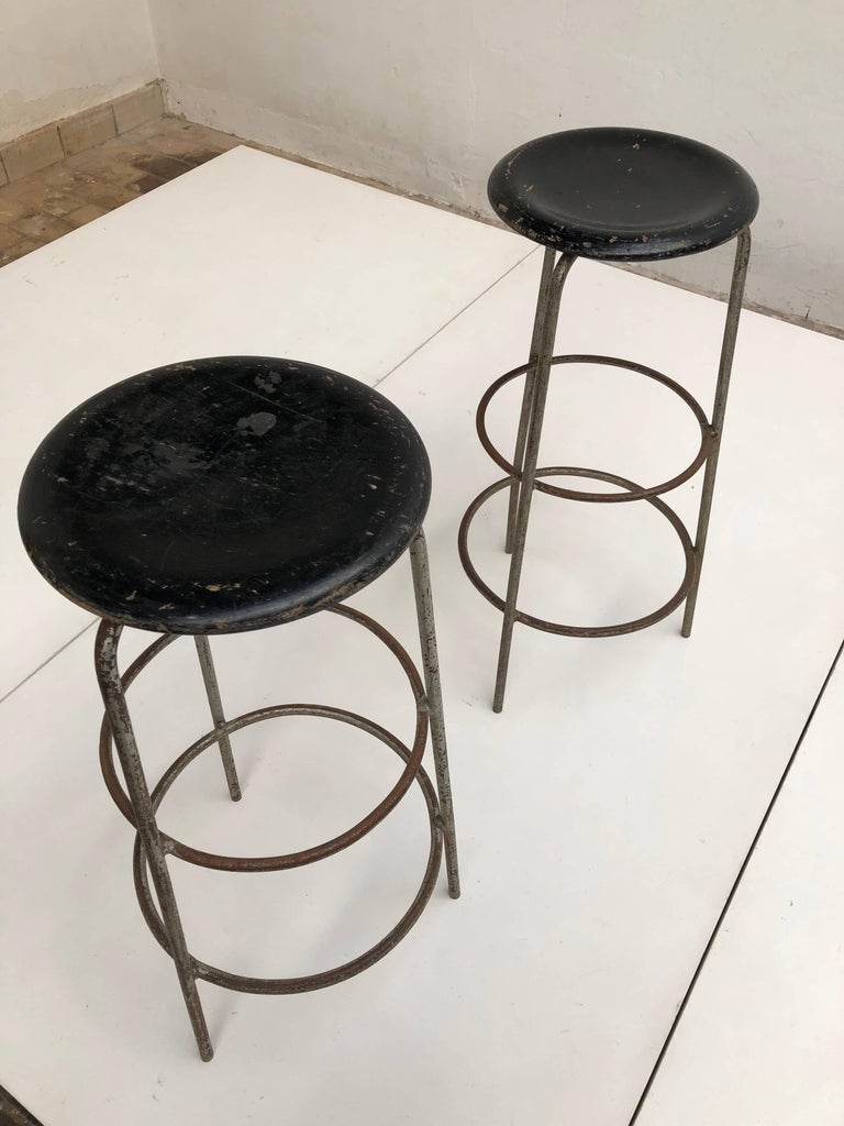 Pair of 1950s Swiss Industrial Confection Atelier Working or Bar Stools 9