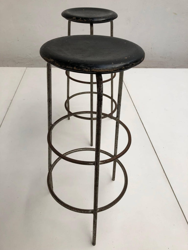 Pair of 1950s Swiss Industrial Confection Atelier Working or Bar Stools 2