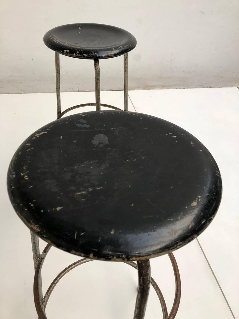 Pair of 1950s Swiss Industrial Confection Atelier Working or Bar Stools 4