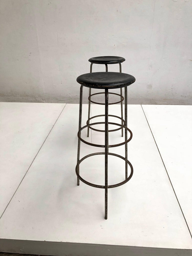 Pair of 1950s Swiss Industrial Confection Atelier Working or Bar Stools 5