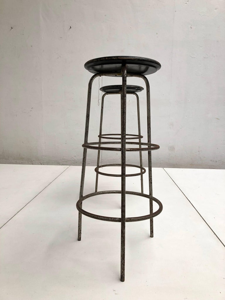 Pair of 1950s Swiss Industrial Confection Atelier Working or Bar Stools 7