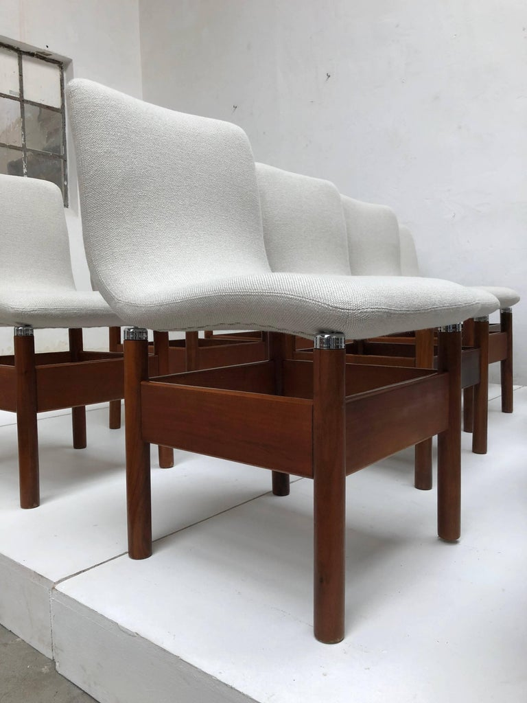 12 'Chelsea' Dining Chairs by Introini, Saporiti 1966, Upholstery Fully Restored 2